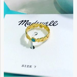 Madewell Gold & Turquoise Geometric Shapes Ring